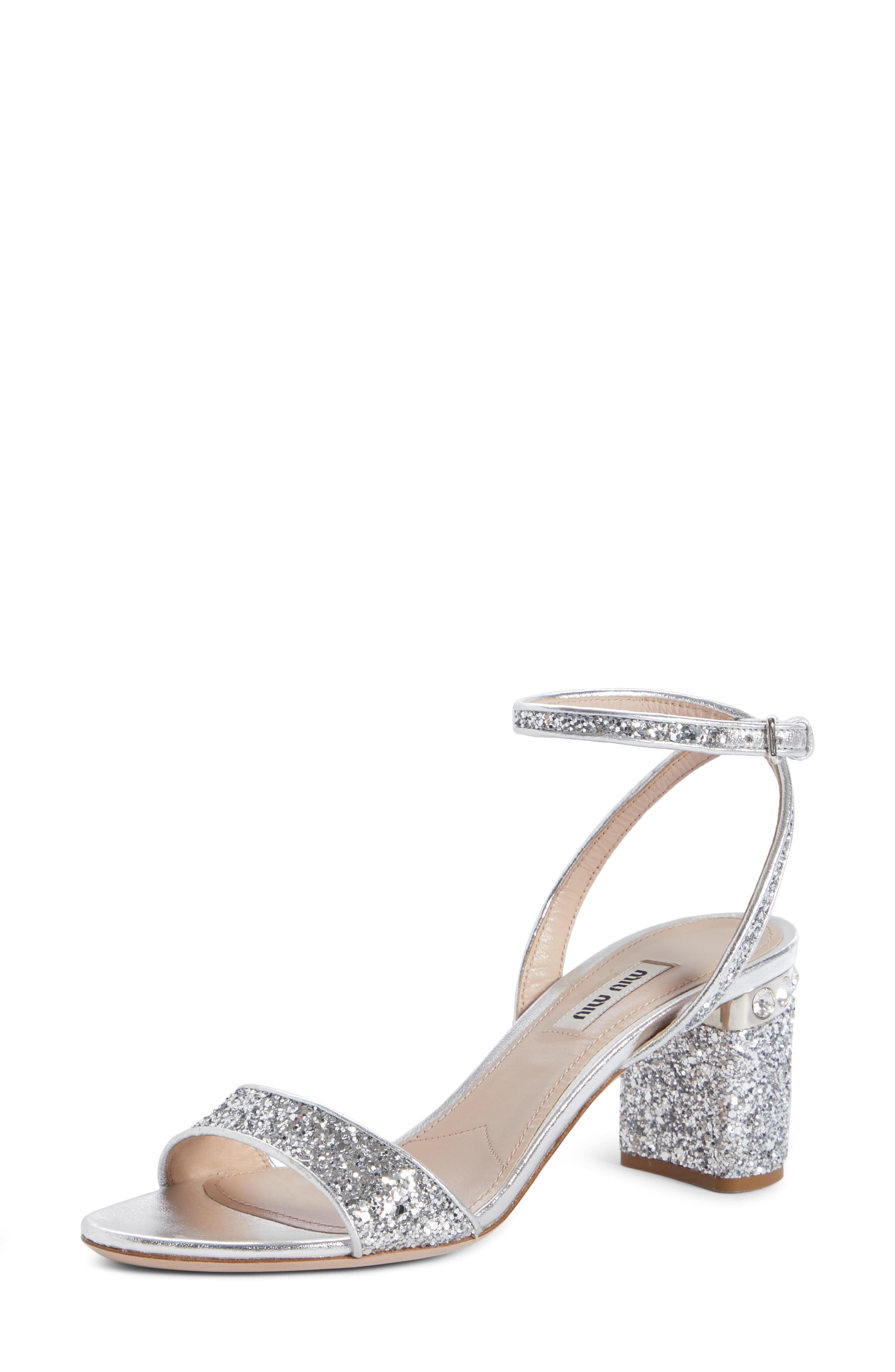 86f8beb8eceb Store Status Price. Miu Miu Glitter Crystal-Embellished Block-Heel Sandals  In Silver