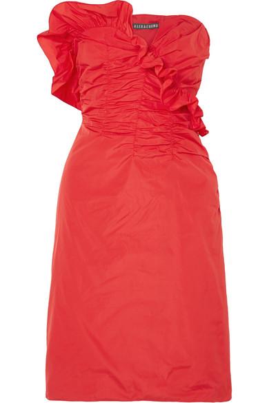 Alexa Chung Ruffled Ruched Taffeta Dress In Red