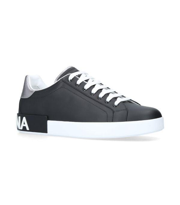 Dolce & Gabbana Sneakers Portofino In Black-capped Calfskin