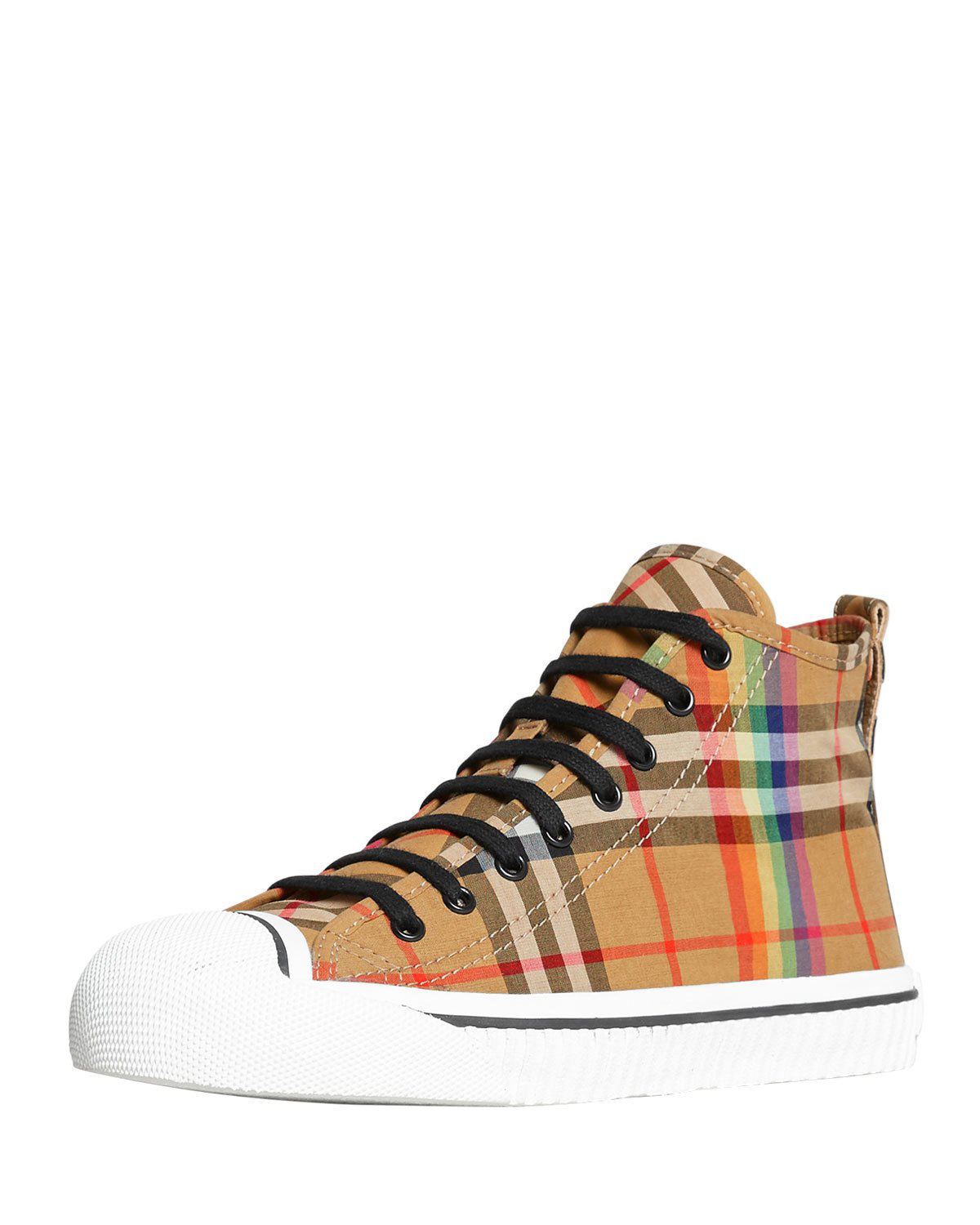 6d7310469 Burberry Men's Kingly High-Top Rainbow Check Sneakers In Brown ...