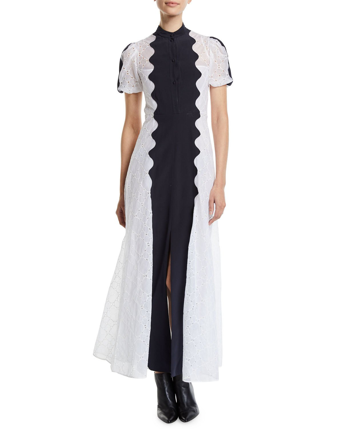 f878ff1060ed1 Valentino Paneled Broderie Anglaise Cotton-Blend And Silk-Crepe Midi Dress  In White