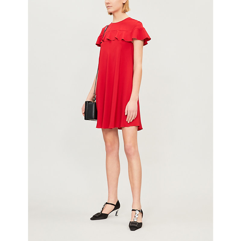Red Valentino 荷叶边绉纱迷你连衣裙 In Red