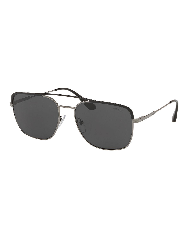 29e249d91ce Prada Men s Square Metal Aviator Sunglasses In Black Green