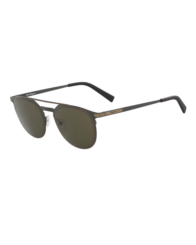 70767b46308c Salvatore Ferragamo Men's Two-Tone Metal Sunglasses With Double Bridge In  Olive