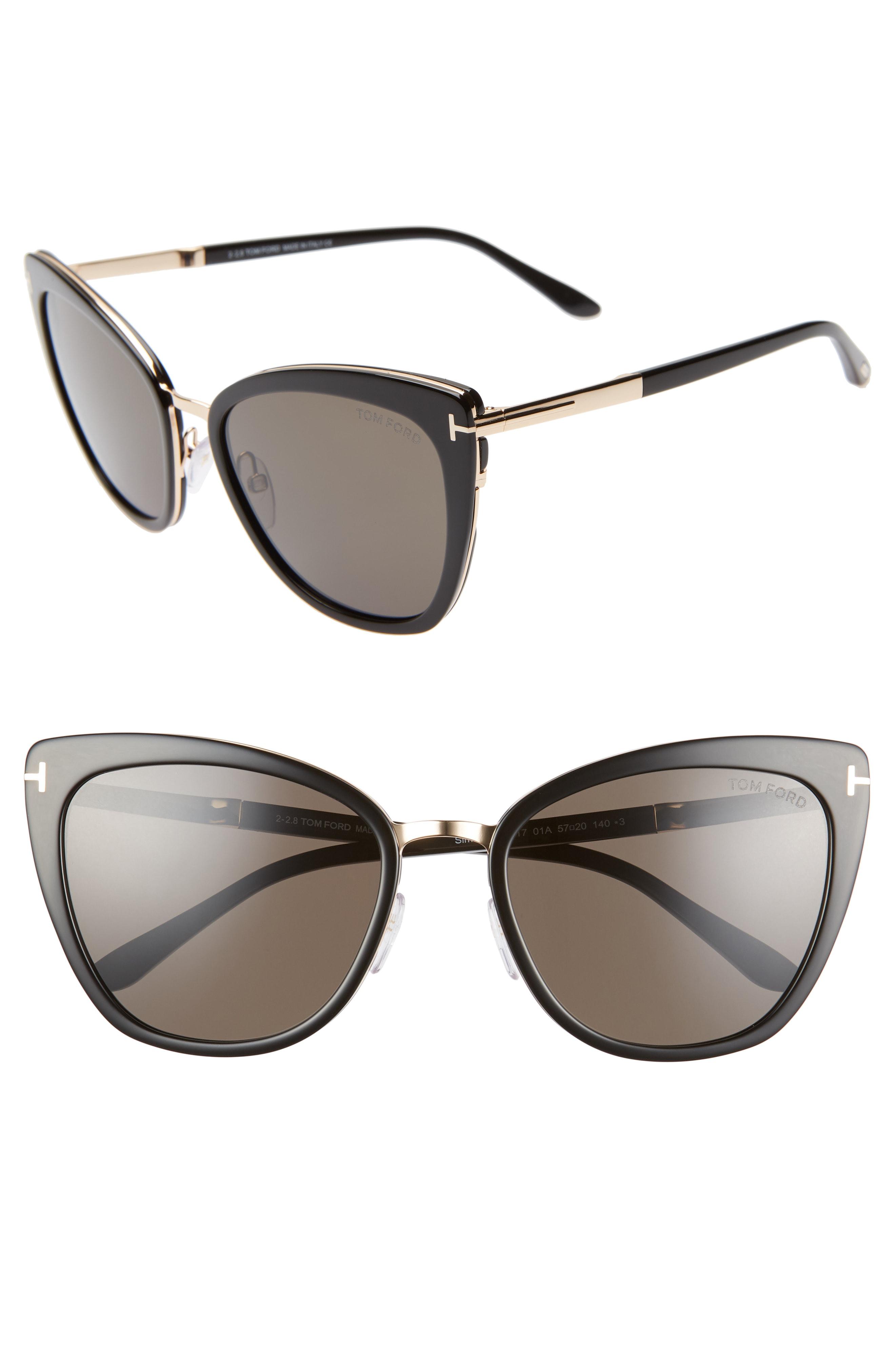 47bb4765a3f2 Tom Ford Simona 56Mm Sunglasses - Black  Rose Gold  Smoke
