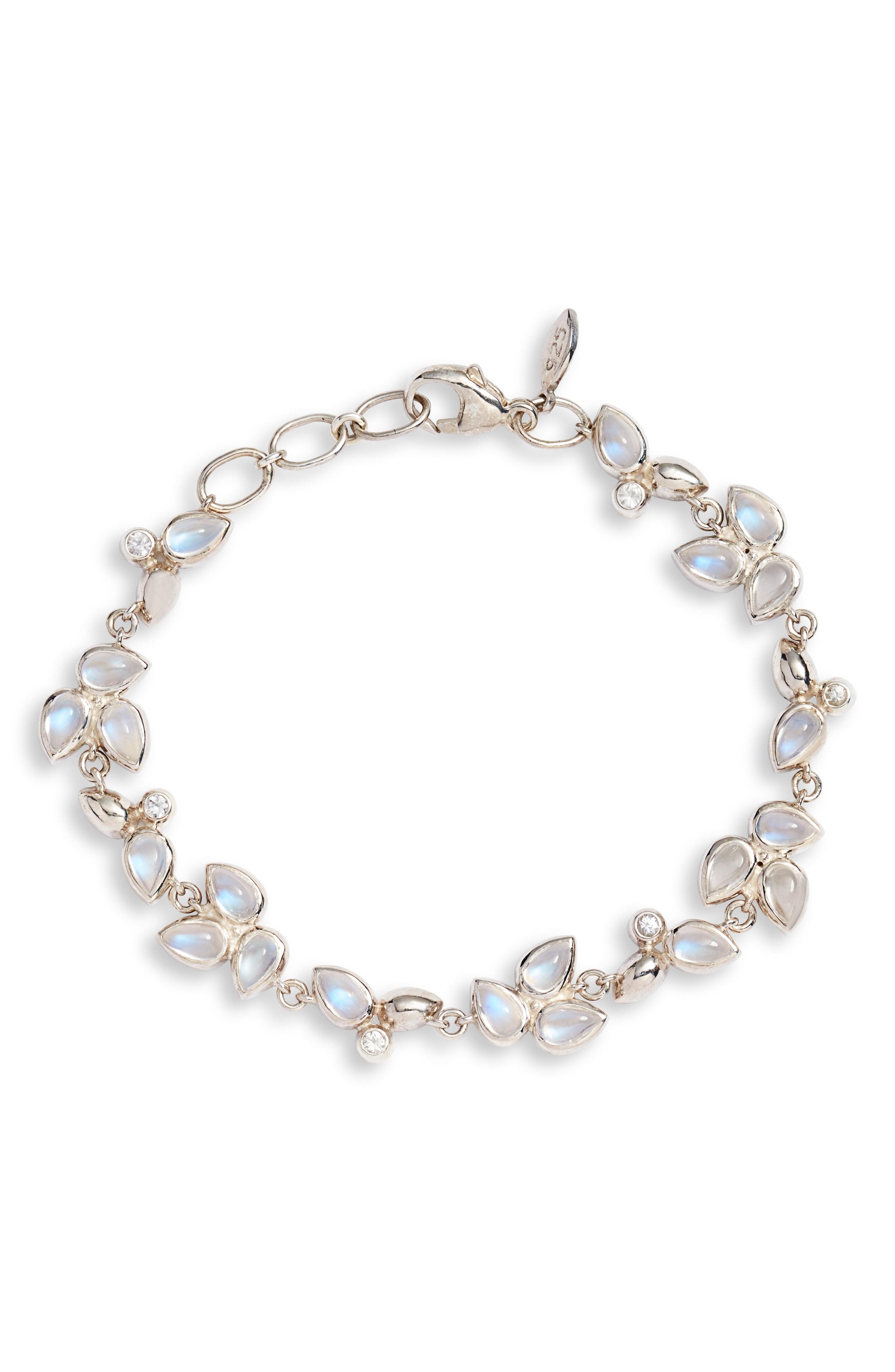 Anzie Bezel Bouquet Fleur Rainbow Moonstone Bracelet In Rainbow Moonstone/ Sapphire