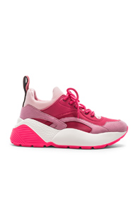 Stella Mccartney Eclypse Faux Leather, Faux Suede And Neoprene Sneakers In Rose & Fuchsia
