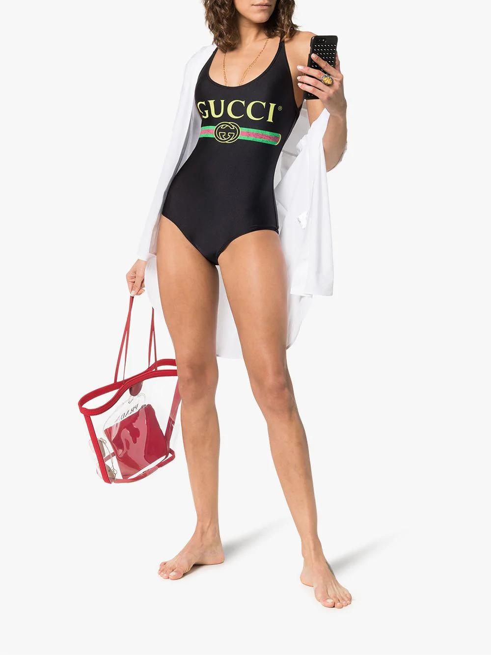 Gucci Black Logo Nylon One-piece Swimsuit In Black Sparkling Stretch Fabric