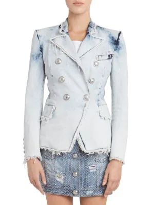 87e2e714e563 Balmain Classic Double-Breasted Bleached Denim Blazer In Light Wash ...
