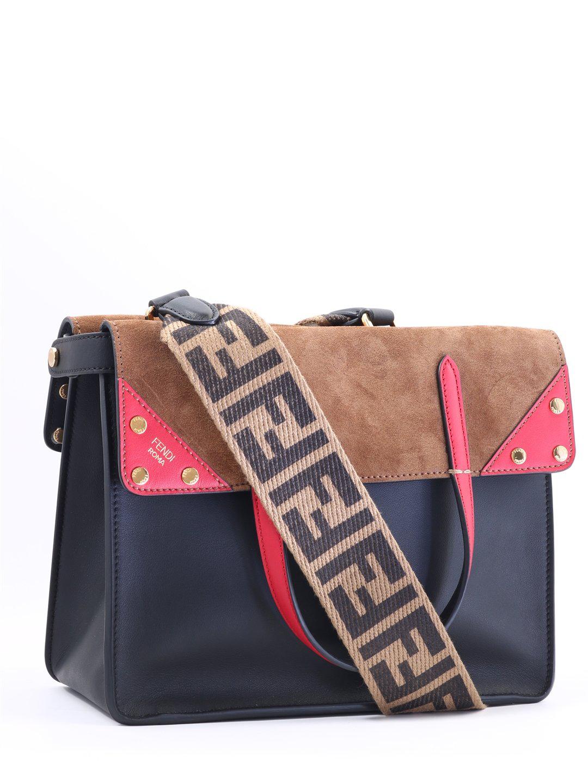 d834853ce7d4 Fendi Flip Leather   Suede Tote - Black