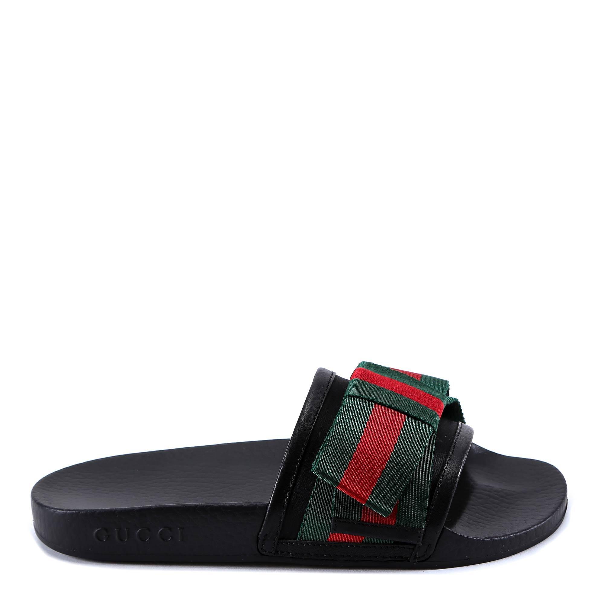 ab2270fd8c5f46 Gucci Women s Pursuit Satin Bow Pool Slide Sandals In Black