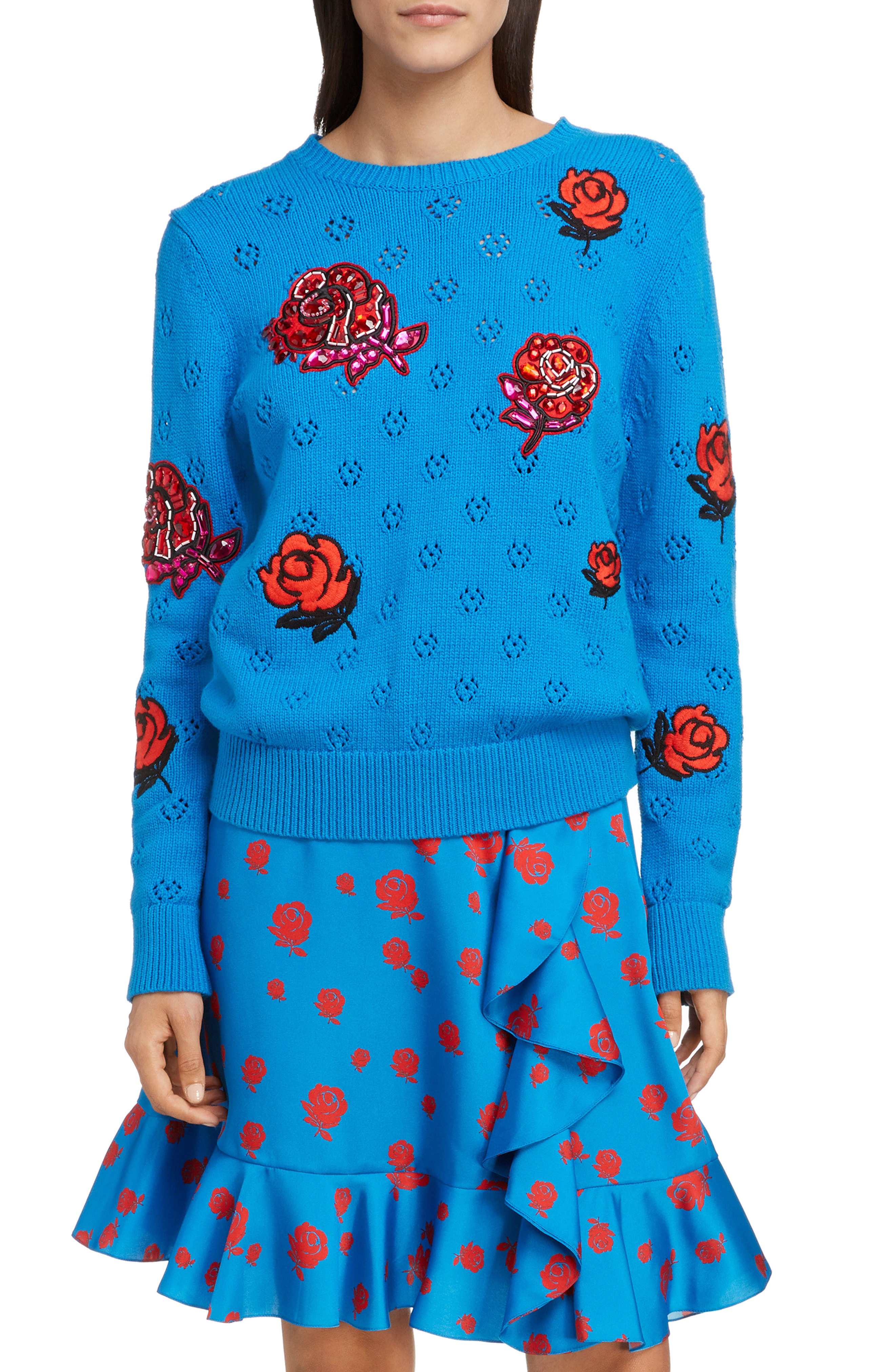 8f7d70201 Kenzo Long-Sleeve Graphic Knit Sweater Top In Blue
