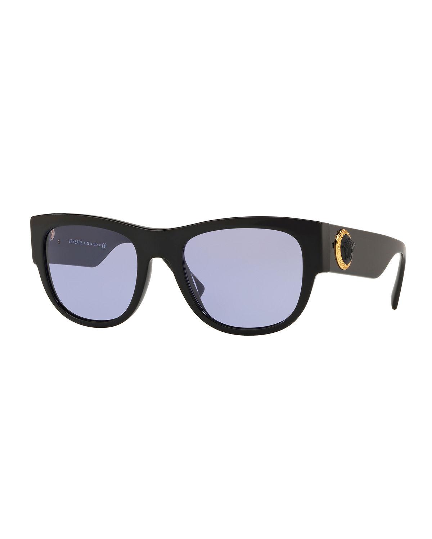 96b6217a5c9d Versace Men s Square Acetate Wrap Sunglasses In Black Purple