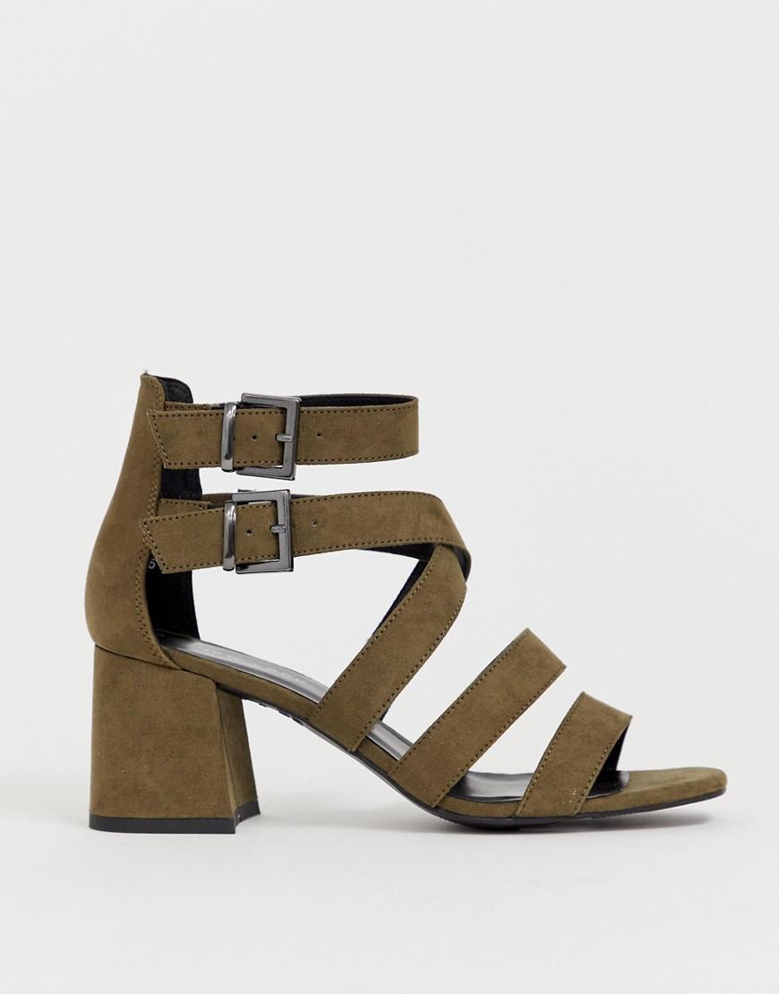 New Look Multi Strap Low Block Sandal In Khaki-green