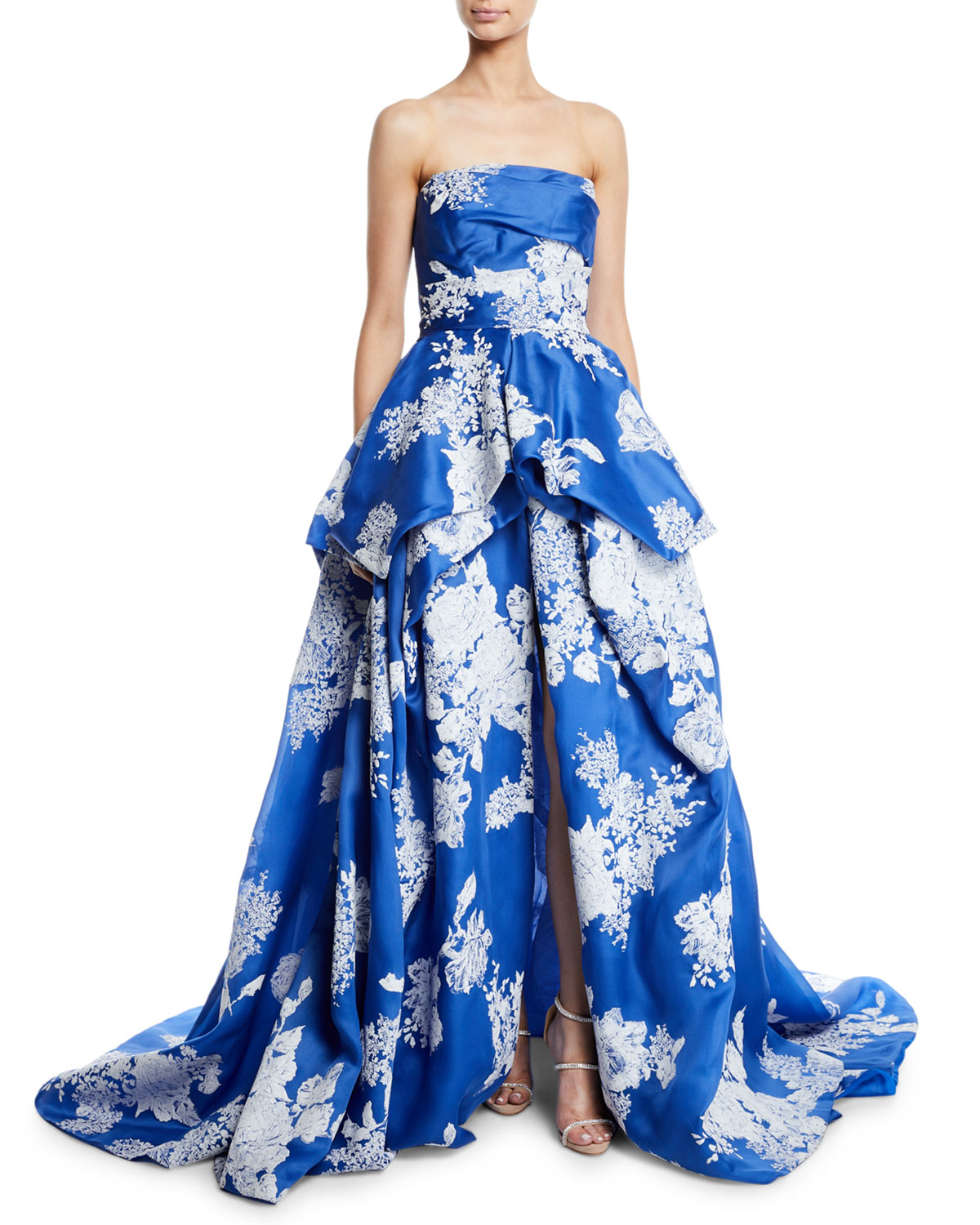 0284d7e404ee1 Monique Lhuillier Strapless Hand-Tufted Floral-Print Organza Ball Gown In  Blue/White