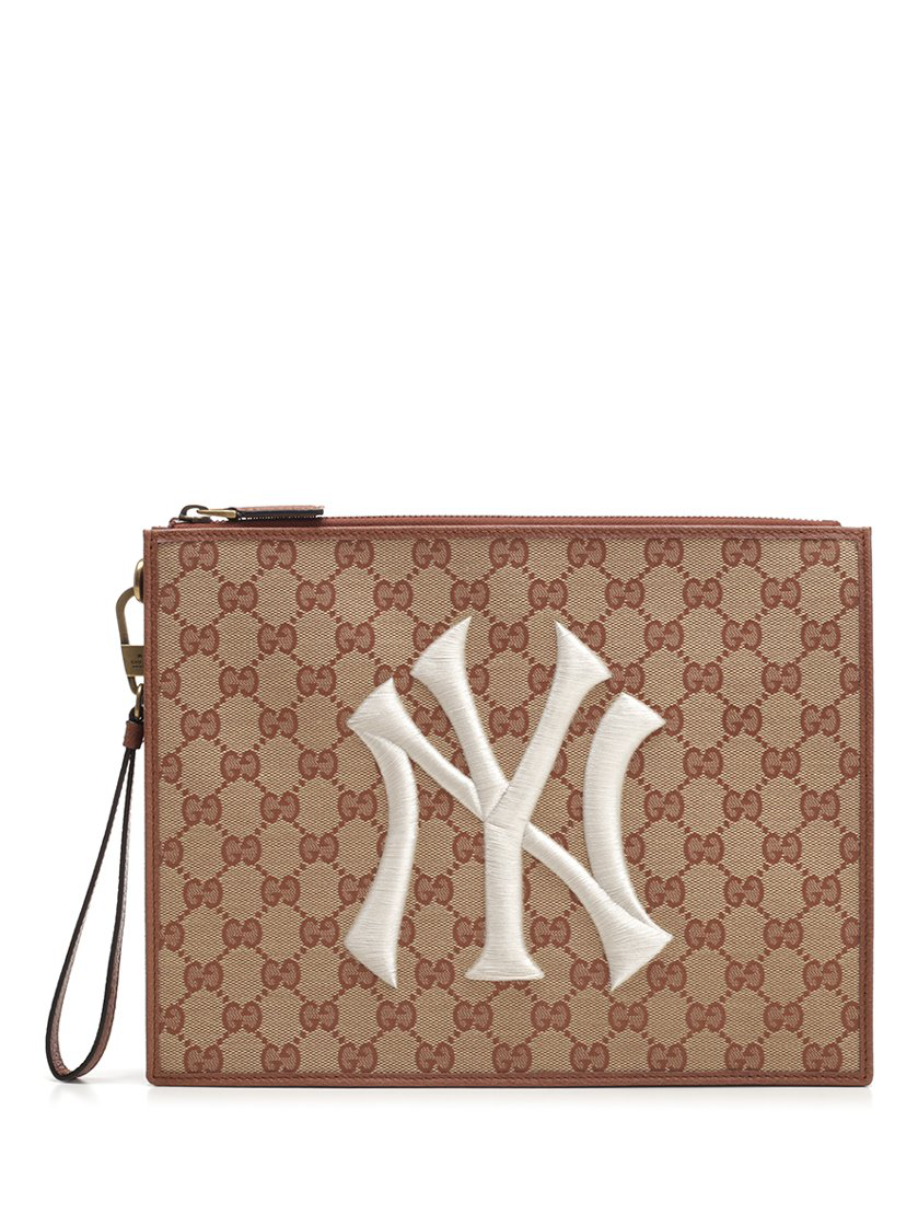 047353031368 Gucci Original Gg Pouch With Ny Yankees&Trade; Patch In Neutrals ...