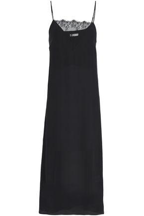 Anine Bing Woman Lace-paneled Silk Crepe De Chine Midi Slip Dress Black