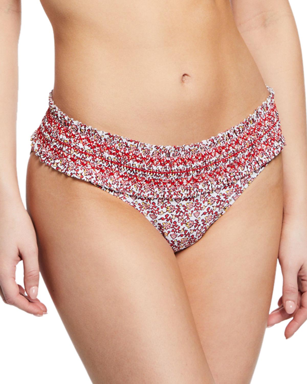 40636ed841 Tory Burch Costa Printed Hipster Smocked Swim Bikini Bottoms