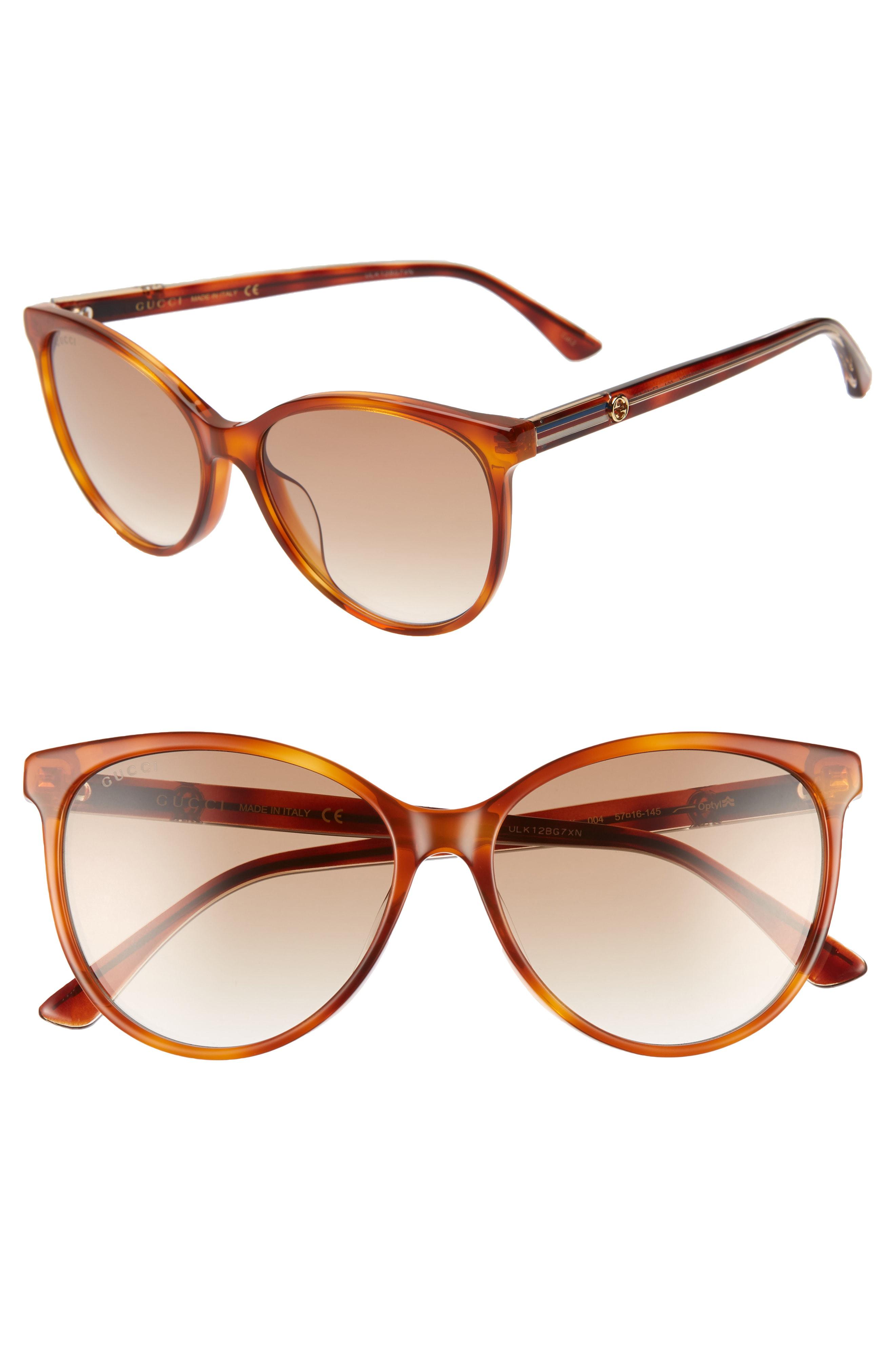 1dd1a1ee63 Gucci 57Mm Cat Eye Sunglasses - Blonde Havana  Borwn Gradient