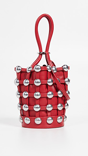 b102ac963fdad Alexander Wang Mini Roxy Studded Cage Leather Bucket Bag - Red ...