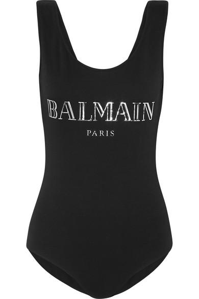 Balmain 3D Shiny Logo Cotton Jersey Bodysuit In Eac Blk/Sil