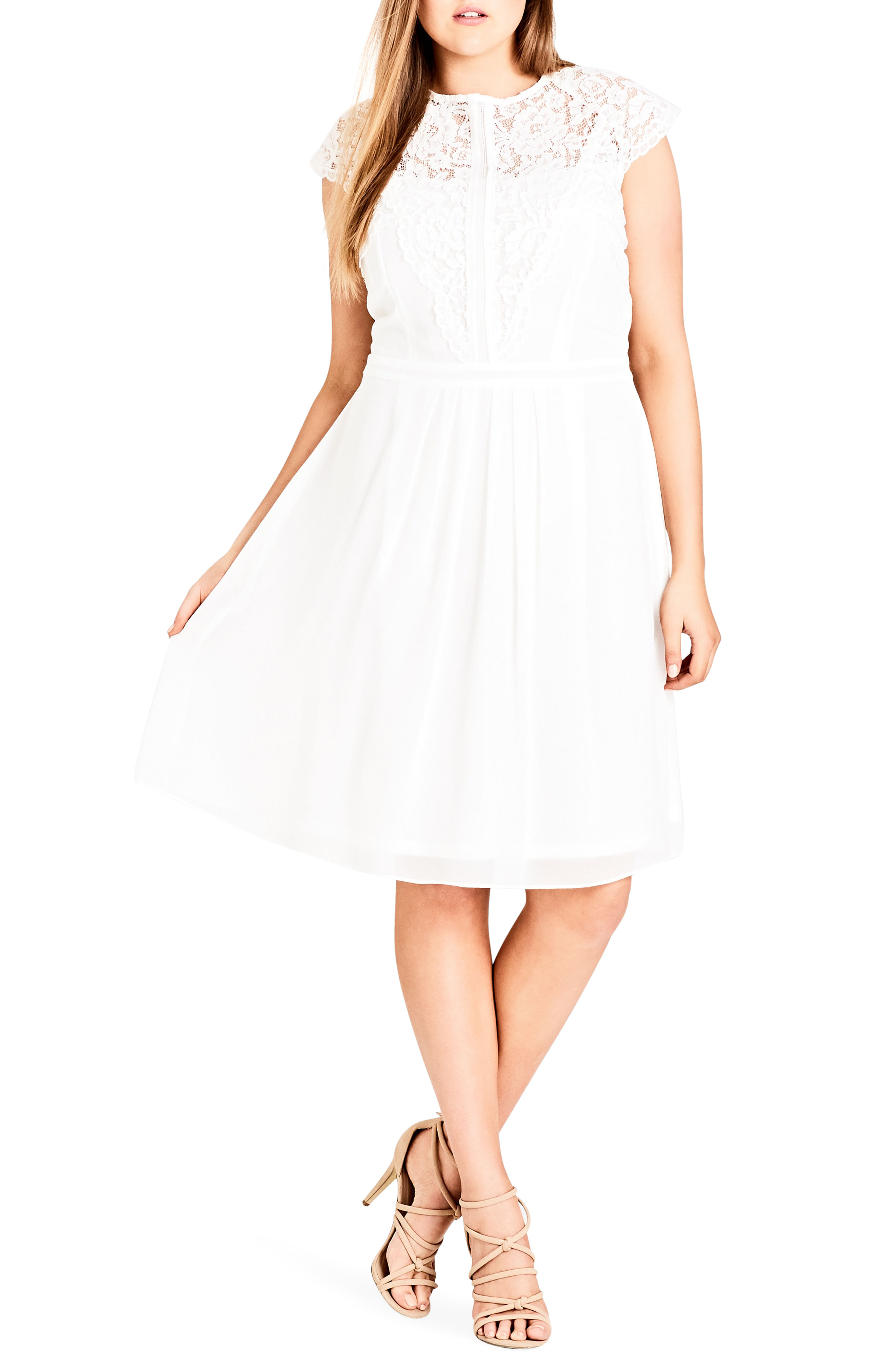 City Chic Trendy Plus Size Lace-Bodice Illusion Dress In Ivory ...