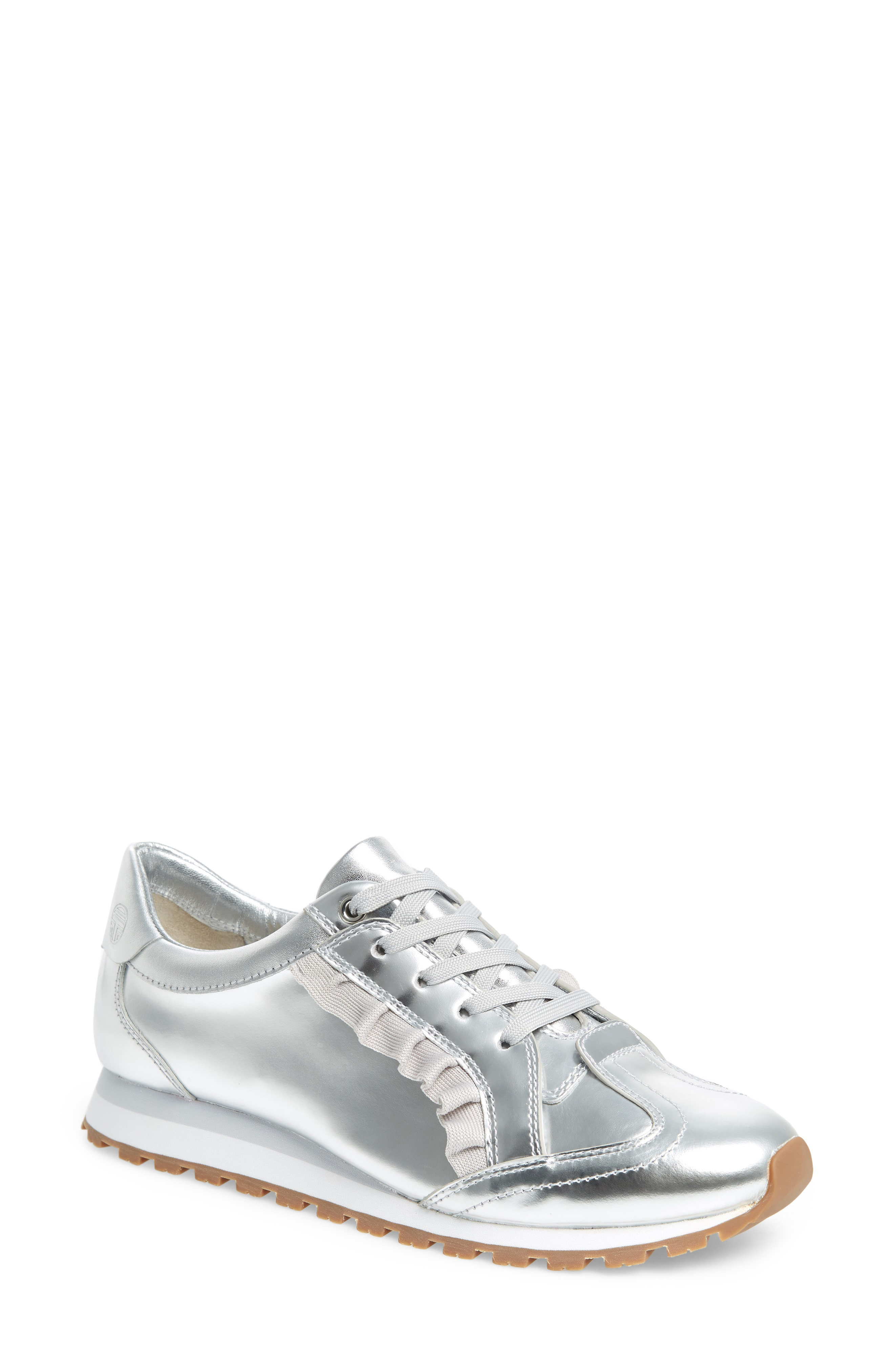 0c4a9a5900ed4c Tory Sport Women S Ruffle Trainer Leather Lace Up Sneakers In Silver ...