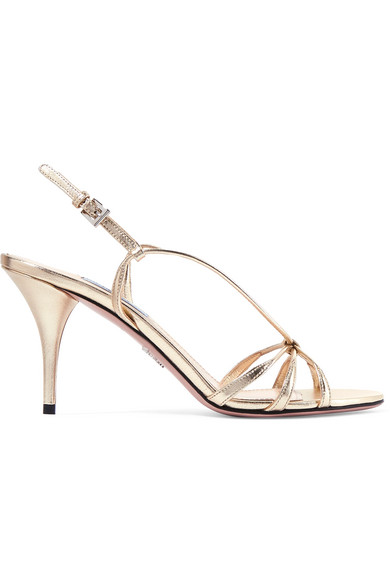 Prada Gold Laminated Leather Sandals