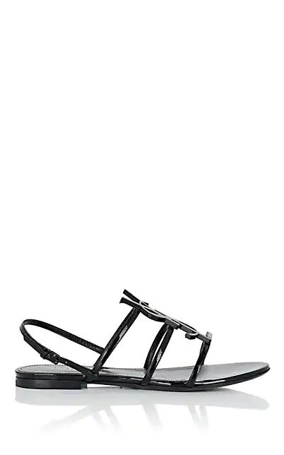 Saint Laurent Cassandra Open Sandals With Black Logo In Patent Leather