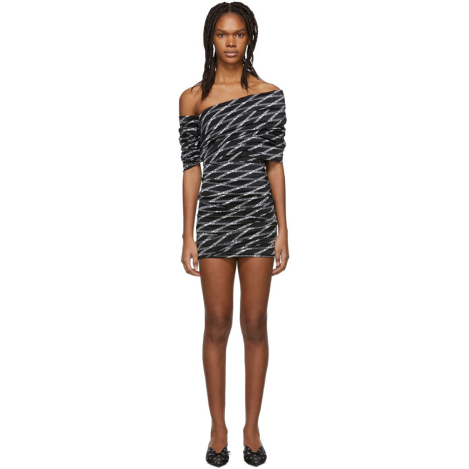 Balenciaga Off-The-Shoulder Ruched Printed Stretch-Satin Mini Dress In Black
