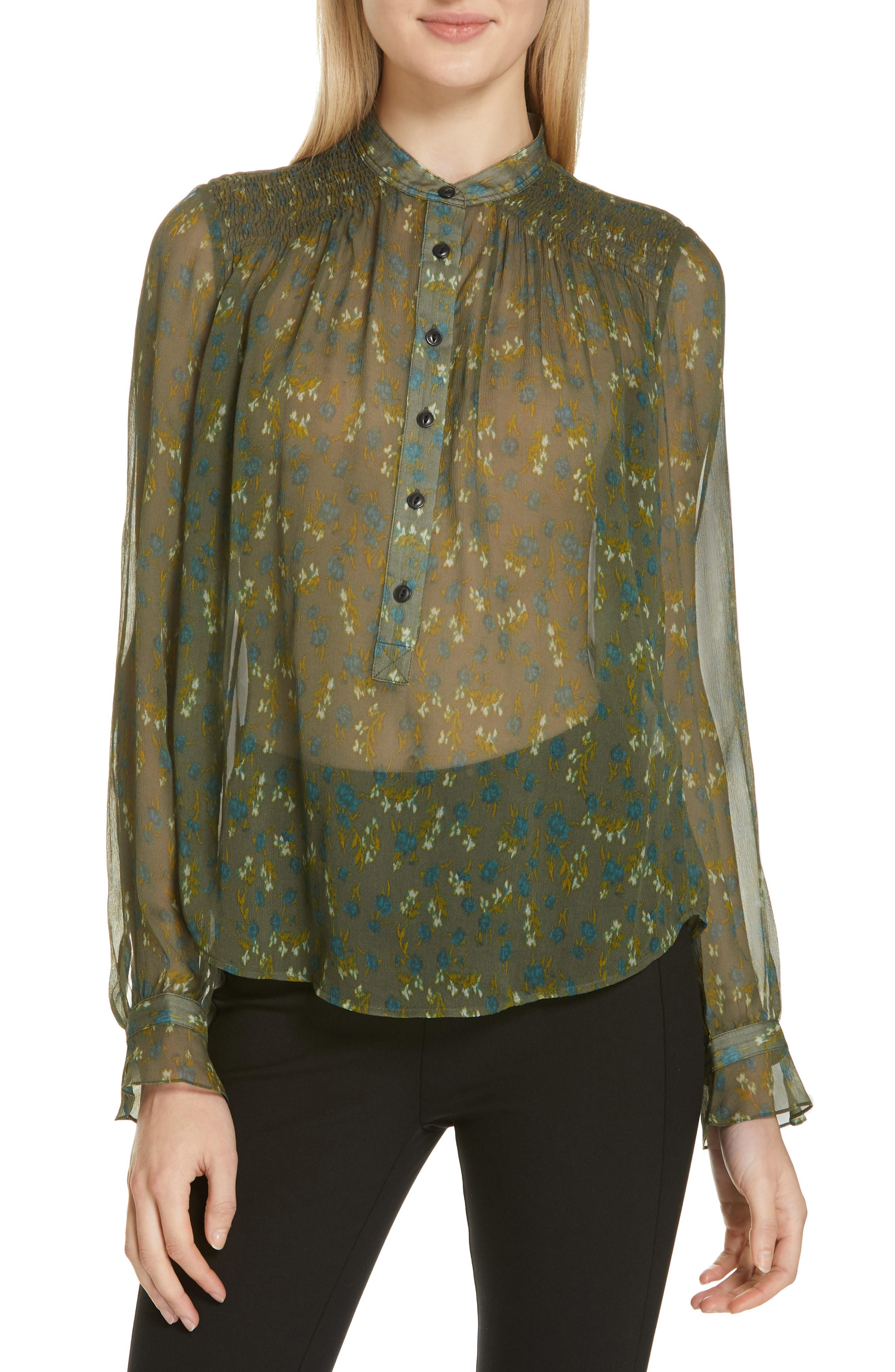 021521eb521ea5 Rag   Bone Susan Floral Chiffon Long-Sleeve Blouse In Olive Multi ...