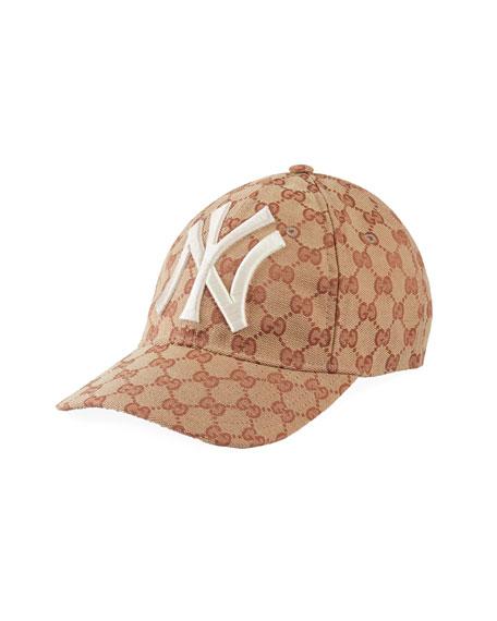 1cff08cd5a9 Gucci Men s Logo-Print Baseball Cap With New York Yankees Applique In Brown