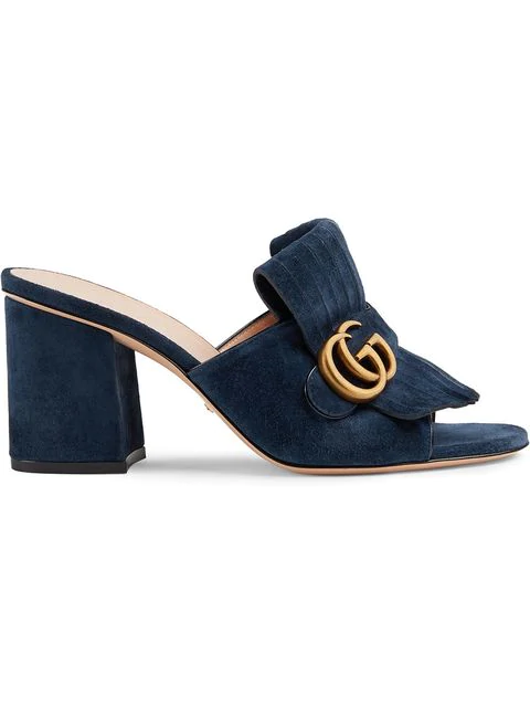 Gucci Gg Mid-heel Fringed Marmont Mules In Blue In 4140 Navy