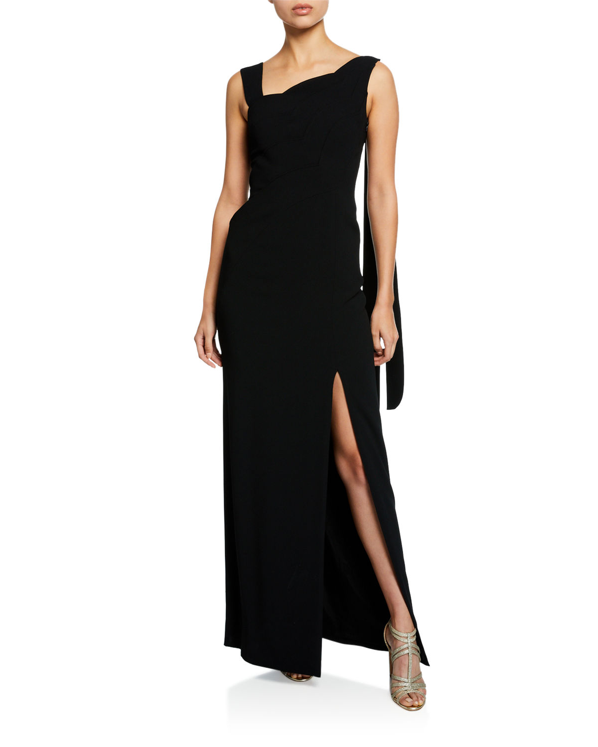 2237ecf930c0e Escada One-Shoulder Scalloped-Front High-Slit Gown In Black