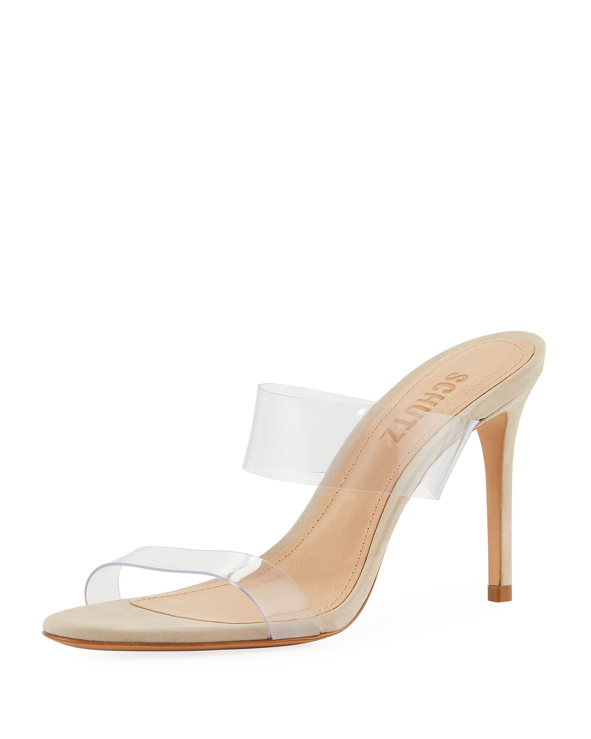 d57365e592b Schutz Women s Ariella Clear Strap High-Heel Slide Sandals In  Beige Transparent Vinyl Fabric