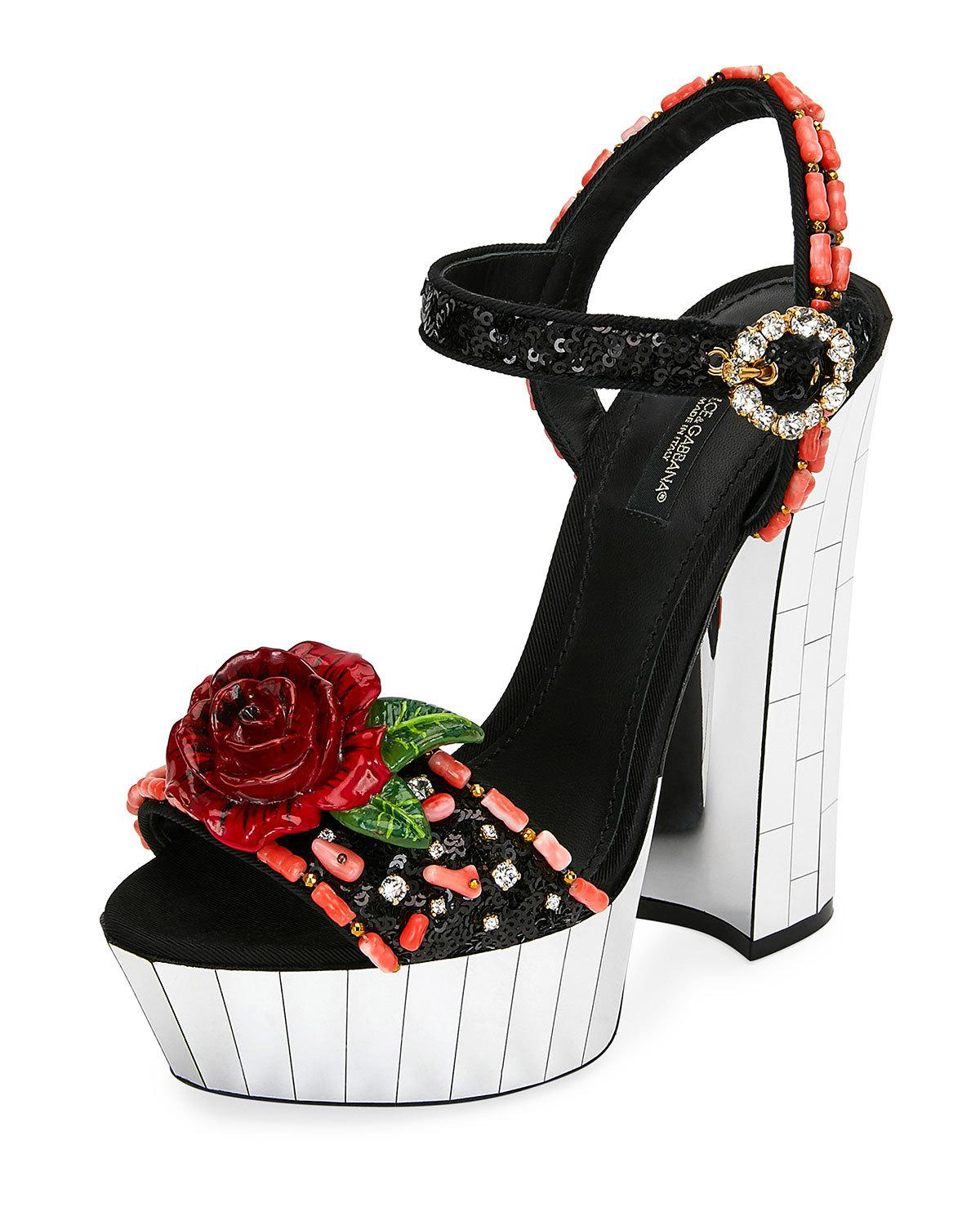 5e39b381ade Dolce   Gabbana Floral Embellished Canvas Platform Sandals In Black ...