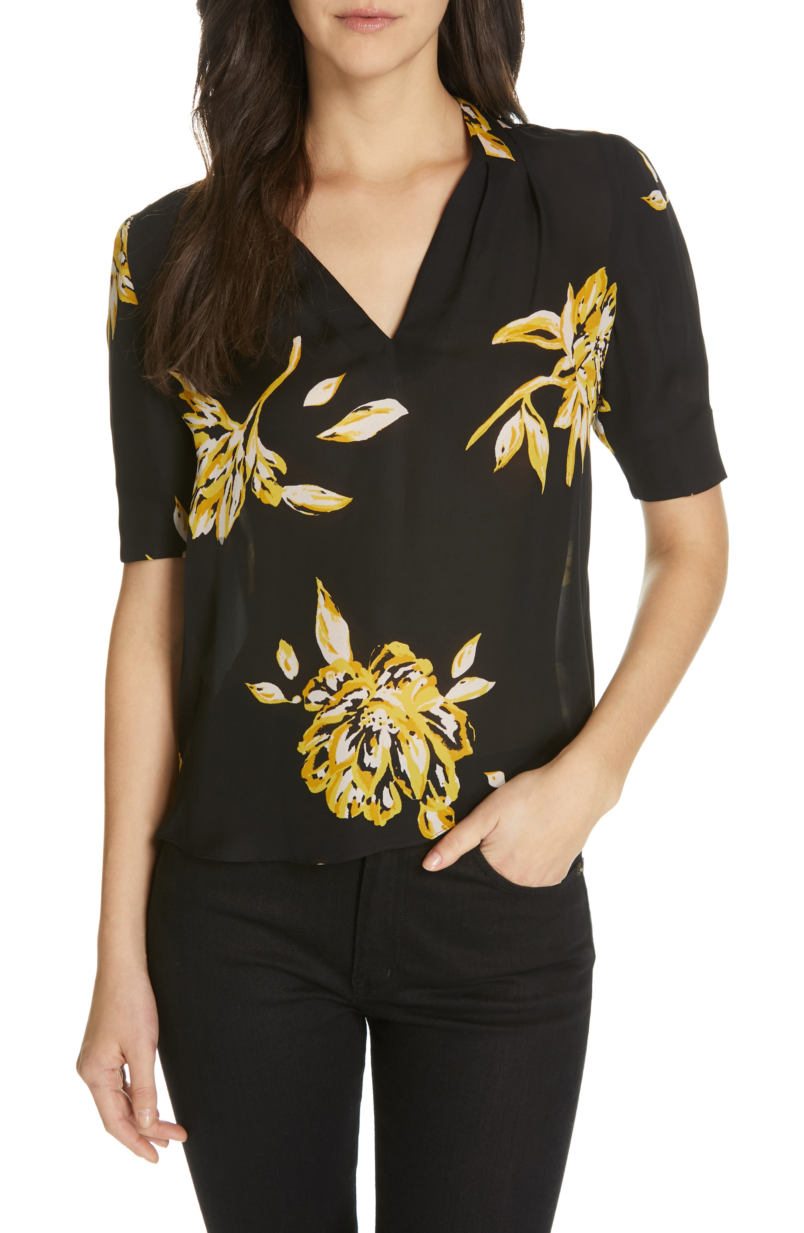 77c31256666455 Joie Ance Short-Sleeve Floral Silk Top In Caviar