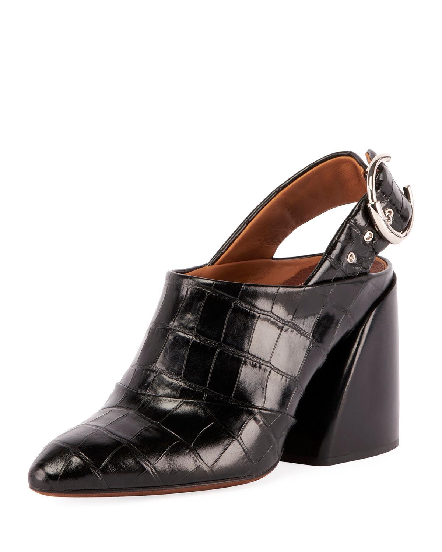 a8109f6de6907e ChloÉ Women s Croc-Embossed Block Heel Slingback Mules In Black ...