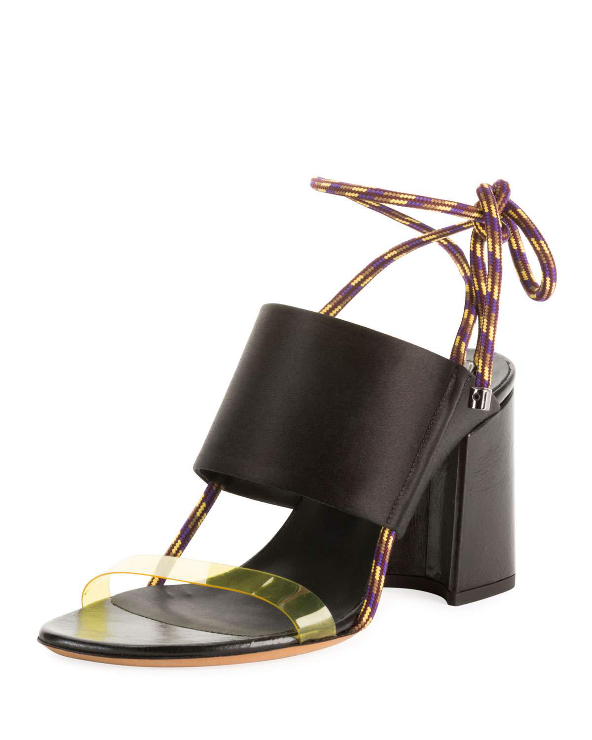 a06819d667 Dries Van Noten Calf Leather Ankle-Tie Sandals In Black | ModeSens