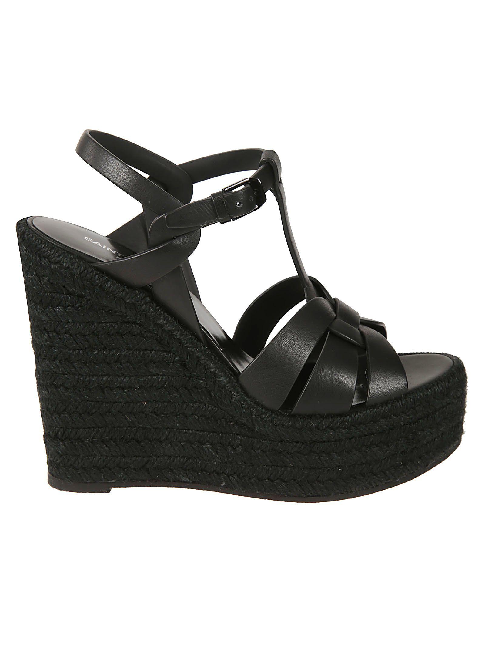 27405de6245 Saint Laurent Tribute Leather Platform Espadrille Wedge Sandal In Black