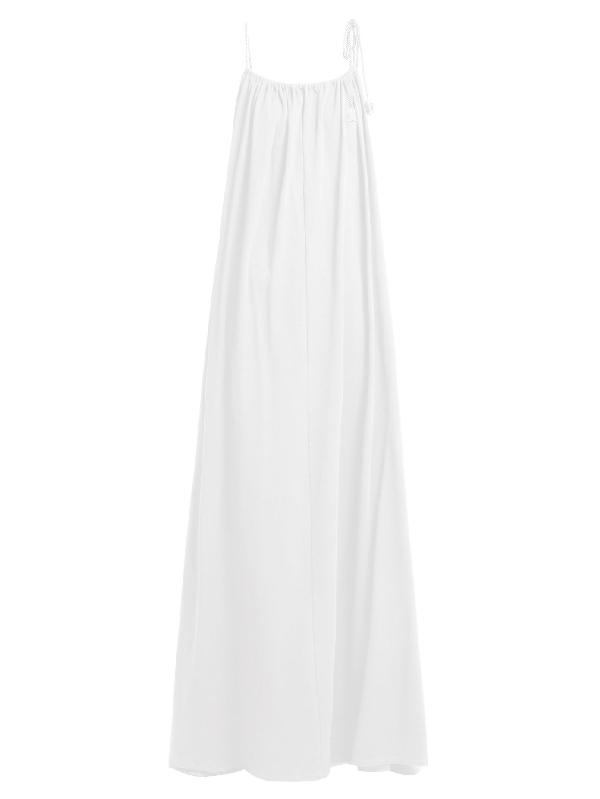 The Row Dresia Gathered Pima-cotton Maxi Dress In White