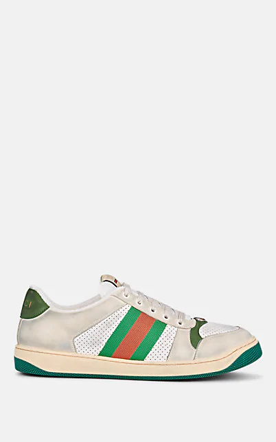 Gucci Low-Top Sneakers Screener  Calfskin Canvas Used Beige Green In White