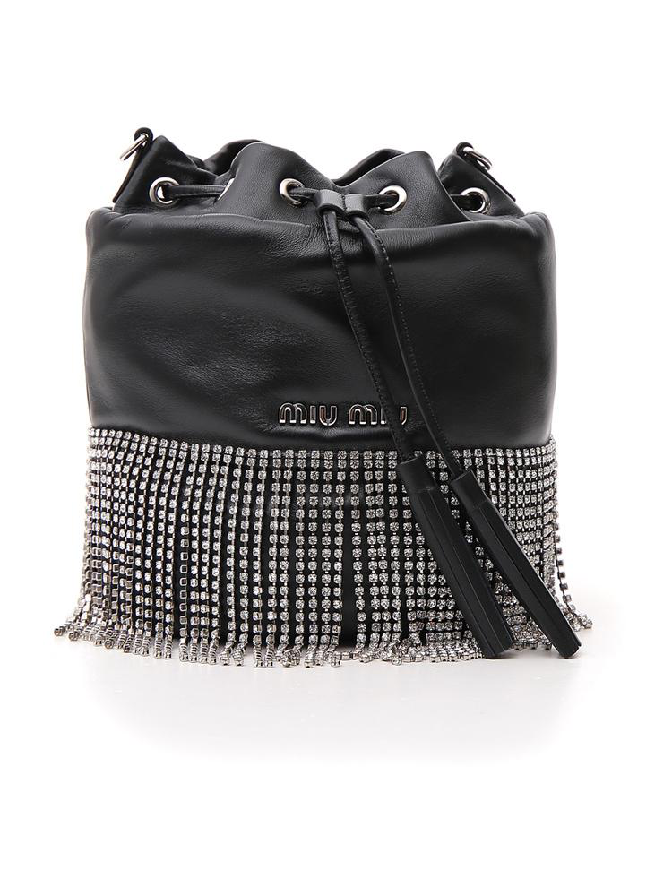 14d4168fdbe8 Miu Miu London Night Crystal-Embellished Leather Bucket Bag In Black ...