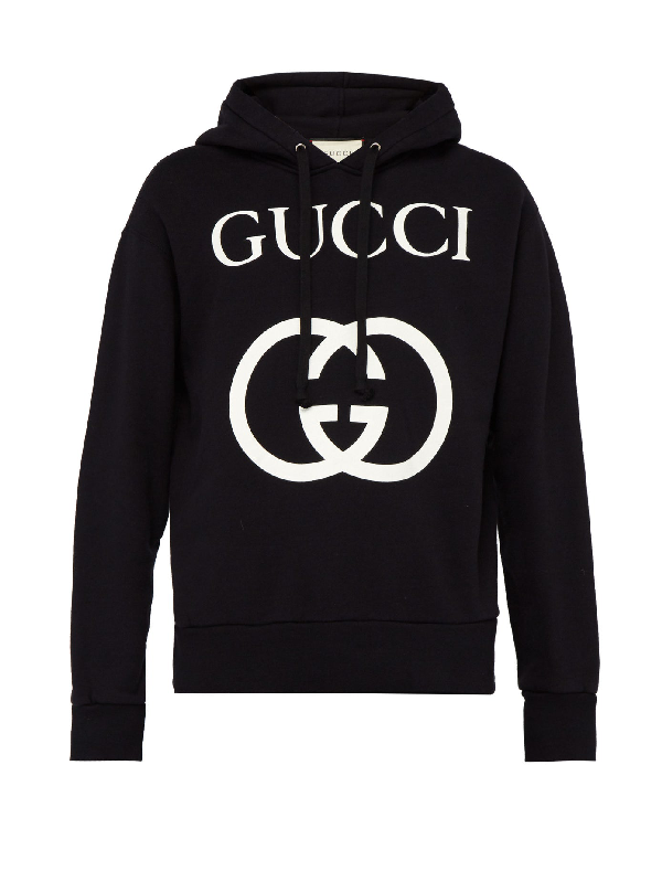 Gucci Ogo-print Oopback Cotton-jersey Hoodie - Black