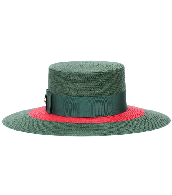 Gucci Embellished Grosgrain-trimmed Straw Hat In Green
