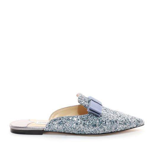 20a6becf7dbe Jimmy Choo Galaxy Flat Denim Mix Coarse Glitter Fabric Pointy Toe Mules  With Bow In Blue