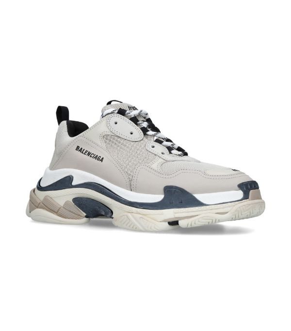 Balenciaga Triple S Mesh, Nubuck And Leather Sneakers In 9787 Bgeblk