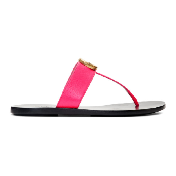 Gucci Women's Marmont Leather Thong Sandals In 5616 Fuschi