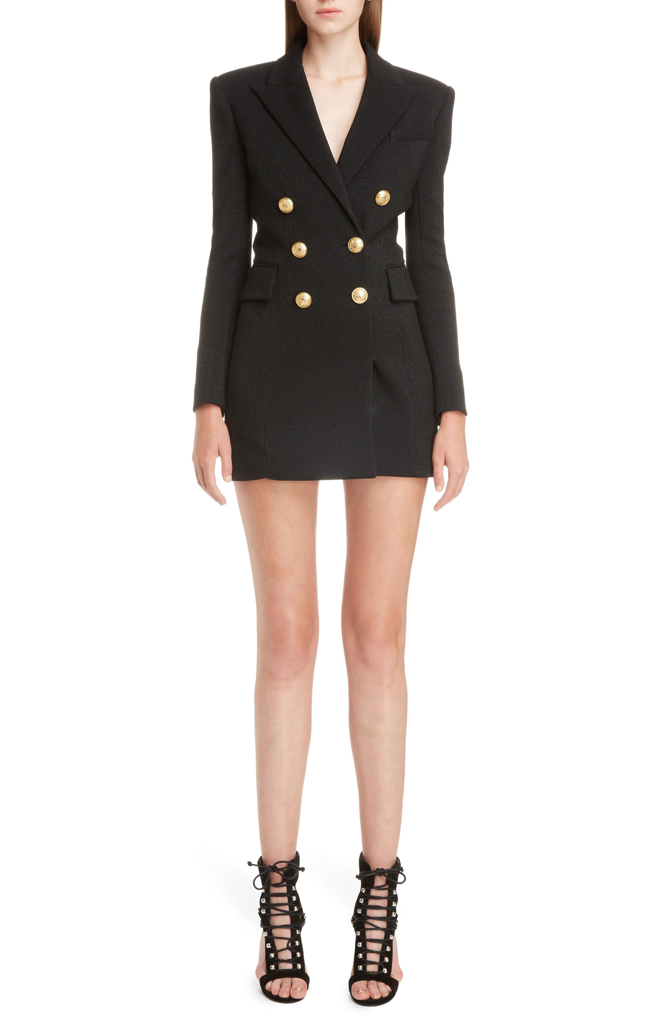 5820c804631 Balmain Button-Embellished Metallic Wool-Blend Mini Dress In Black ...