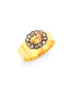 Renee Lewis Pink Sapphire & Antique Diamond 18k Gold Ring